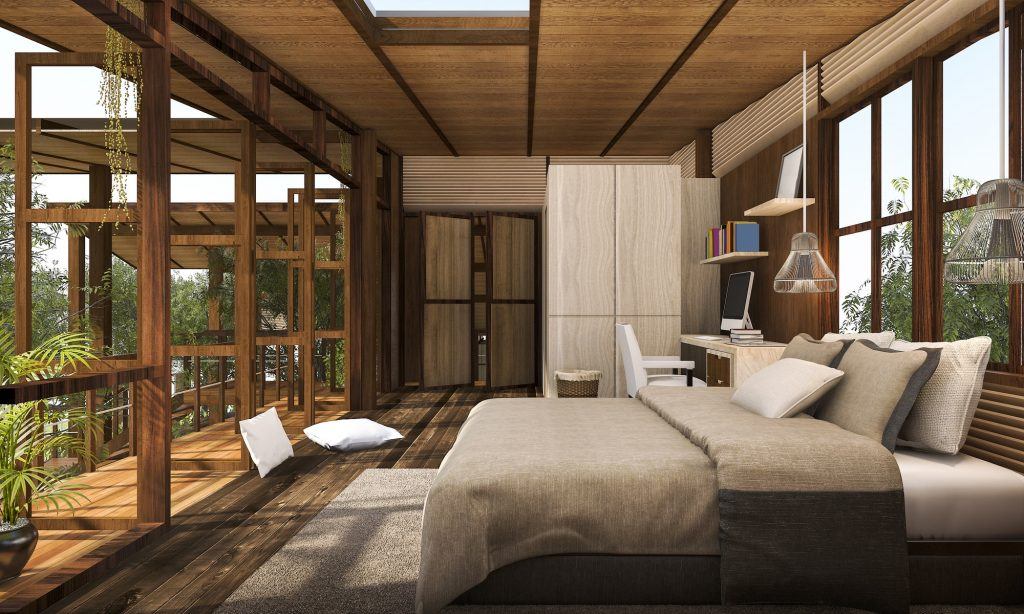 3D rendering contemporary wood bedroom with balcony